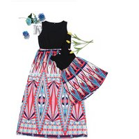 Trendy High-waist Boho Matching Maxi Dress for Mom and Me