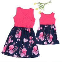 Mom and Me Beautiful Sleeveless Floral Matching Dress