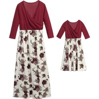 Suitable Floral Crop-sleeve Dress for Mommy and Me