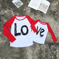 Stylish LOVE Print Long-sleeve Matching Top