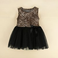 Pretty Leopard Patterned Tulle Dress for Baby Girl