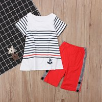Stylish Striped Anchor Print Long Tee and 3/4 Pants Set for Baby and Toddler Girl