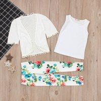 3-piece Comfy Solid Tank Top, Floral Pants and Cover-up Set for Baby Girl and Girl