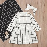 Simple Plaid Long-sleeve Dress with Headband in Beige for Baby and Toddler Girl