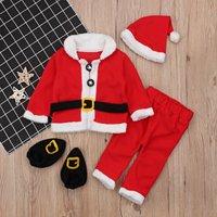 4-piece Santa Claus Design Long-sleeve Top, Pants, Hat and shoes Set