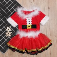 Cheerful Christmas Short-sleeve Top and Tulle Skirt Santa Uniform