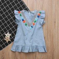 Stylish Ethnic Flounced Stripe Colorful Tasseled Dress