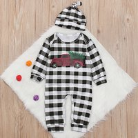 Fashionable Car Print Plaid Long-sleeve Jumpsuit and Hat for Baby