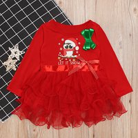 Cute Christmas Owl Pattern Bow Decor Tulle Dress
