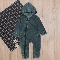 Baby's Stylish Solid Denim Hooded Jumpsuit