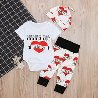 Baby 3-piece Valentine Heart Bodysuit, Pants and Knot Hat Set