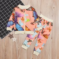 Baby / Toddler Girl's Butterfly Patterned  Coat and Pants
