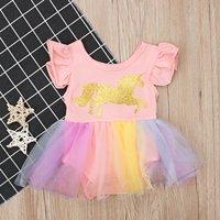 Baby Girl's Unicorn Pattern Tulle Dress