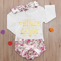 Baby Girl's Letter Print Bodysuit, Floral Shorts and Bow Headband