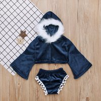 Baby/ Toddler Girl's Villus Pleuche Top and Pompon Shorts