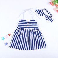 Baby/ Toddler Girl's Striped Halter Dress and Bow Headband
