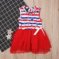 Baby/ Toddler Girl's  Star Print Striped Crisscross Tulle Dress