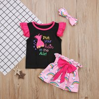 Baby/ Toddler Girl's Letter Pattern Ruffled Top, Rainbow Skirt and Bow Headband
