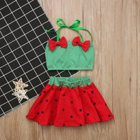 Baby/ Toddler Girl's Watermelon Striped Bow Decor Swim Top and Polka Dots Skirt