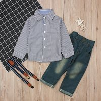 Baby / Toddler Stripped Shirt and High-waist Jeans Set