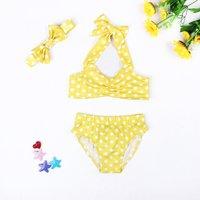Baby/ Toddler Girl's Polka Dots Swim Top, Shorts and Bow Headband