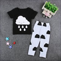 Baby Cloud and Raindrop Pattern Tee and Pants Set