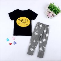 Baby MAMA'S BOY Tee and Cross Print Pants Set