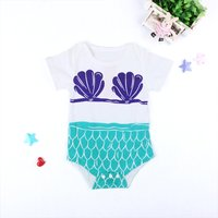 Trendy Cartoon Mermaid Print Short-sleeve Bodysuit for Baby