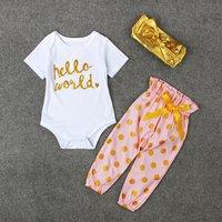 Baby HELLO WORLD Bodysuit, Dotted Pants and Headband Set