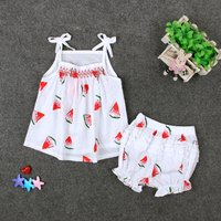 Baby / Toddler Watermelon Strip Top and Ruffled Bloomers Set