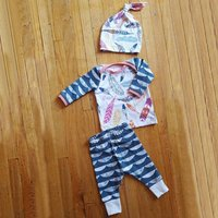 Baby Colorful Feather Tee, Pants and Hat Set