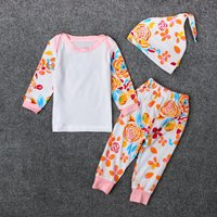 Baby 3-piece Flower Print Tee, Pants and Hat Set