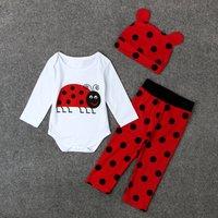 Baby Ladybug Bodysuit, Dotted Pants and Hat Set