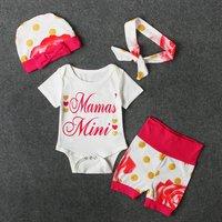 Baby MAMA'S MINI Bodysuit, Dotted Shorts, Bow Hat and Headband Set