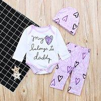 Baby Valentine Heart Print Bodysuit, Pants and Hat Set