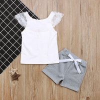 Baby / Toddler Lace Splicing Tank and Bow Shorts Set