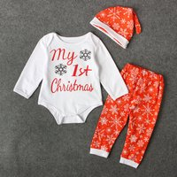 Baby MY FIRST CHRISTMAS Bodysuit, Pants ans Hat Set