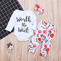Baby WORTH THE WAIT Bodysuit, Floral Pants and Headband Set