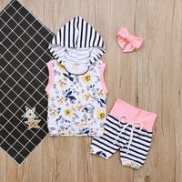 Baby Flower Print Hoodie and Striped Shorts with Headband Set