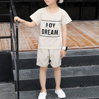 Fashion Letters Print Plaid Short-sleeve Top and Shorts Set for Boys