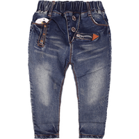Cool Zipper Decor Elastic Waist Jeans for Boy