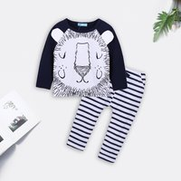 2-piece Lovely Lion Pattern Tee and Striped Pants Set