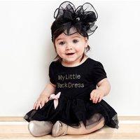 Baby Girl MY LITTLE BLACK DRESS Bow Decor Tulle Bodysuit