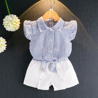 Baby / Toddler Girl Striped Flare-sleeve Shirt and Shorts Set
