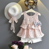 Baby / Toddler 3-piece Floral Ruffled Bow Top, Shorts and Sunhat Set