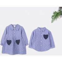 Sister and Brother Striped Heart Pocket Matching Shirt