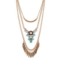Chic Feather Decor Turquoise Layered Necklace