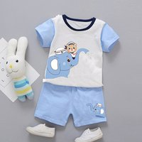 Cute Elephant Print Short-sleeve Tee and Shorts Set for Baby and Toddler Boy