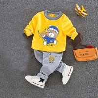 Fashionable Bear Print Long-sleeve Top and Pants Set for Baby and Toddler Boy