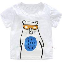 Fun Bear Print Short-sleeve Tee in White for Baby Boy